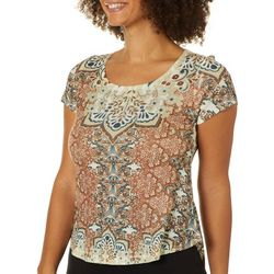 OneWorld Womens Cottage Wallpaper Jeweled Scoop Neck Top