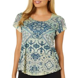 OneWorld Womens Patchwork Print Jeweled Scoop Neck Top