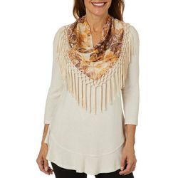OneWorld Womens Scarf & Heathered Solid Ruffle Hem Top