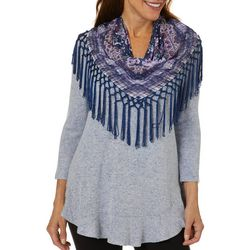 OneWorld Womens Scarf & Heathered Soild Round Neck Top