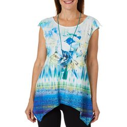 OneWorld Womens Necklace & Floral Print Sharkbite Hem Top