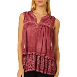 OneWorld Womens Lace Trim Sleeveless Top