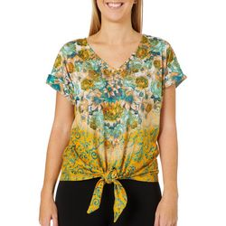 OneWorld Womens Giving Sparkles Short Sleeve Top
