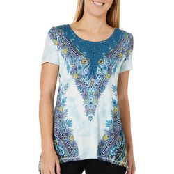 OneWorld Womens Embellished Dashing Medallion Crochet Top