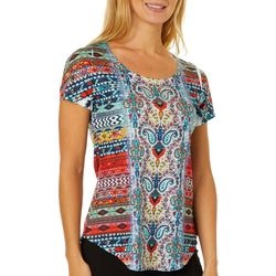 OneWorld Womens Mixed Paisley Stripe Short Sleeve Top