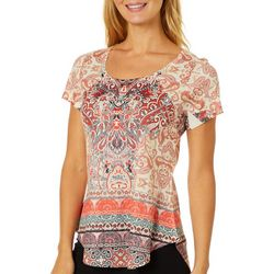OneWorld Womens Embellished Prism Connection Print Top