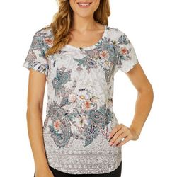 OneWorld Womens Graceful Embellished Paisley Floral Top
