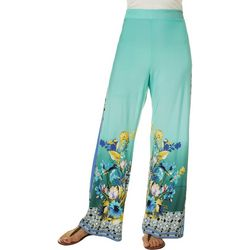 OneWorld Womens Floral Border Print Soft Gaucho Pants