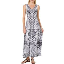 OneWorld Womens Floral Print Crochet Back Maxi Dress