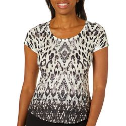 OneWorld Womens Boho Cat Print Short Sleeve Top