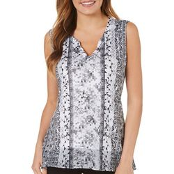 OneWorld Womens Geometric Paisley Sleeveless Top