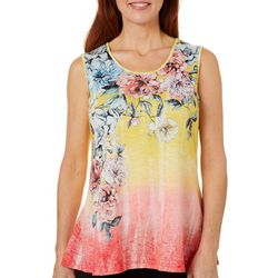 OneWorld Womens Floral Print Ombre Sleeveless Top