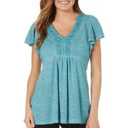 OneWorld Womens Solid Lace Back Ruffle Sleeve Top