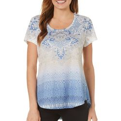 OneWorld Womens Embellished Ikat Scroll Print Top