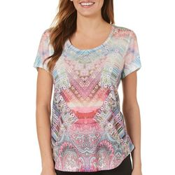 OneWorld Womens Embellished Mixed Chevron Top