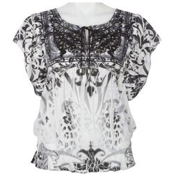 OneWorld Womens Damask Print Ruffle Sleeve Top