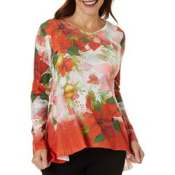 OneWorld Womens Embellished Holiday Poinsettia Top