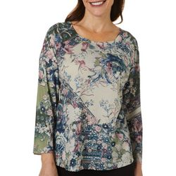 OneWorld Womens Mixed Floral Print Jewel Embellished Top