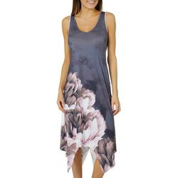 OneWorld Womens Sleeveless Floral Bloom Back Detail Dress