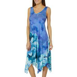 OneWorld Womens Sleeveless Floral Back Detail Dress