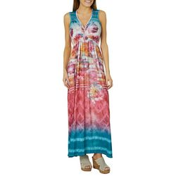 OneWorld Womens Floral Striped Maxi Dress