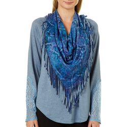 OneWorld Womens Scarf & Lace Long Sleeve Top