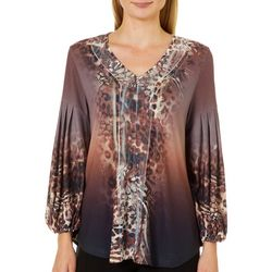 OneWorld Womens Embellished Mixed Animal Print Top
