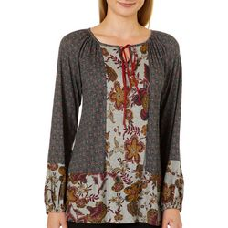 OneWorld Womens Boho Floral Tie Neck Top