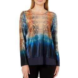 OneWorld Womens Ombre Scroll Print High-Low Top