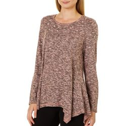OneWorld Womens Heathered Pearl Embellished Top