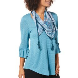 OneWorld Womens Scarf & Striped Bell Sleeve Top