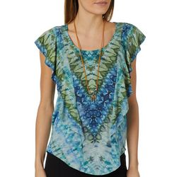 OneWorld Womens Necklace & Tie Dye Ruffle Top