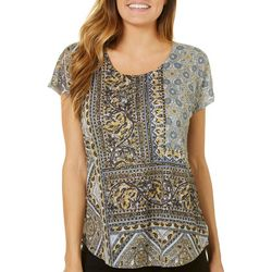 OneWorld Womens Embellished Floral Paisley Top