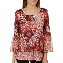 OneWorld Womens Embellished Snowflake Bell Sleeve Top