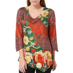 OneWorld Womens Embellished Christmas Crochet Hem Top
