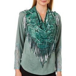 OneWorld Womens Scarf & Heathered Lace Panel Long Sleeve Top