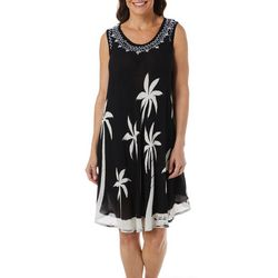 India Boutique Womens Sleeveless Palm Tree Dress