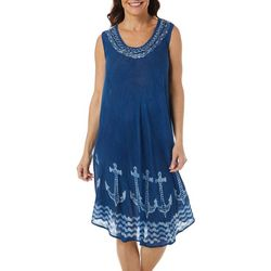 India Boutique Womens Sleeveless Denim Anchor Print Dress