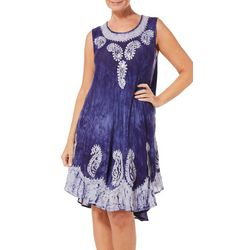 India Boutique Womens Embroidered Paisley Sundress