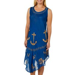 Jessica Taylor Womens Embroidered Anchor Sundress