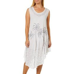 Jessica Taylor Womens Embroidered Palm Tree Sundress