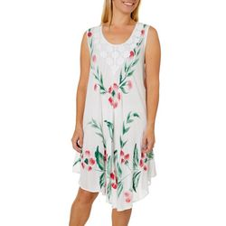 Jessica Taylor Womens Embroidered Floral Sundress