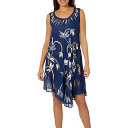 Jessica Taylor Womens Embroidered Floral Metallic Sundress