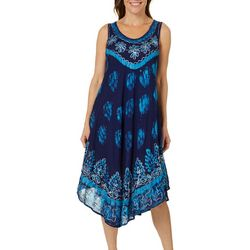 Jessica Taylor Womens Embroidered Floral Geometric Sundress