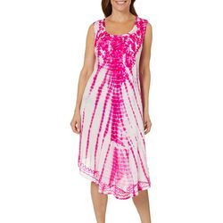 Jessica Taylor Womens Embroidered Floral Tie Dye Sundress