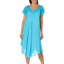 Jessica Taylor Womens Embroidered Crochet Lace-Up Sundress