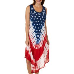 Ace Fashion Womens Tie Dye Americana Flag Sundress