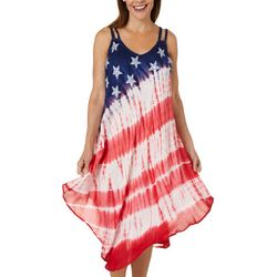 Ace Fashion Womens Tie Dye Americana Double Strap Sundress