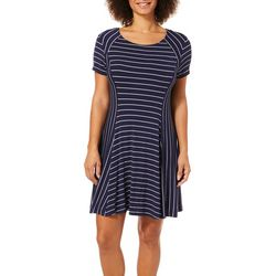 D & L Apparel Womens Mixed Stripe T-Shirt Dress