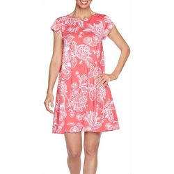 Ruby Road Petite Short Sleeve Floral Puff Print Dress